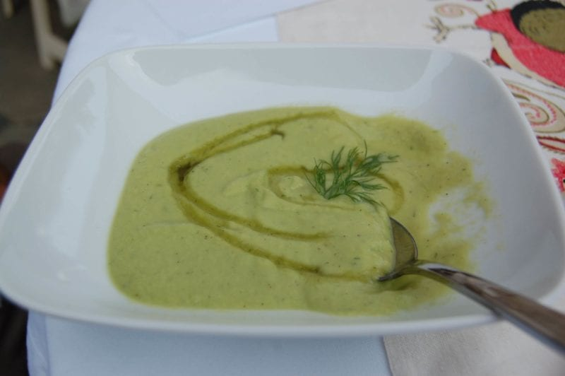 Cold cucumber soup in a bowl.