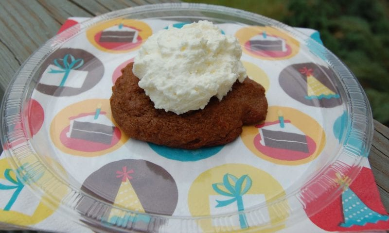Chocolate pecan cookie with sugarless cream on top.