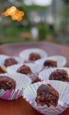 Homemade Chocolate Powerballs in decorative muffin wrappers.