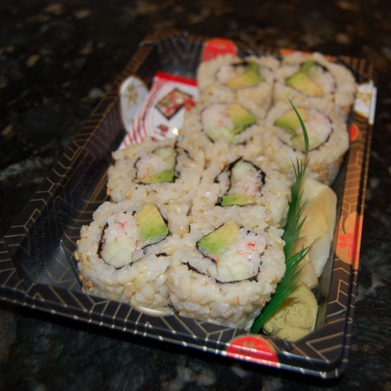 Ready made sushi with brown rice.
