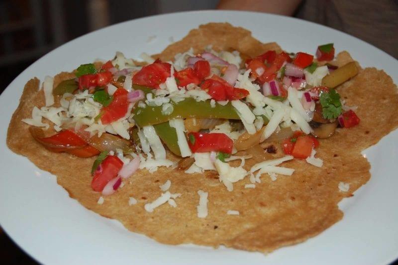 Veggies on a homemade tortilla.
