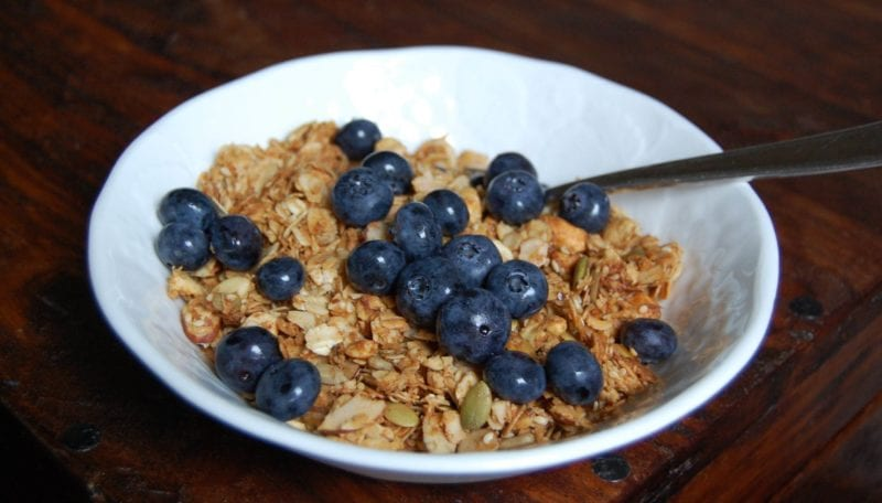 Bowl of homemade granola cereal topped with fresh blueberries.