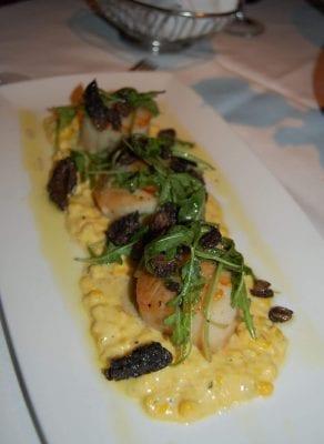 Sea scallops with sweet corn and wild mushrooms from Upstream in North Carolina.