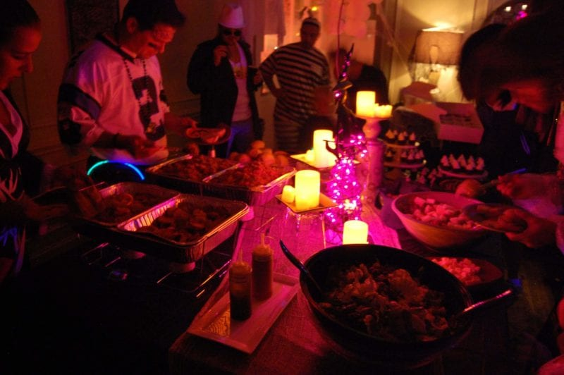 Table setting of food for guest at a Halloween party.
