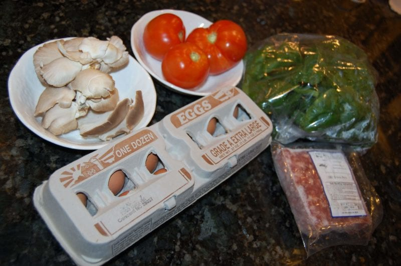 Produce, eggs, and ground pork purchased from a local farmer's market in North Carolina.