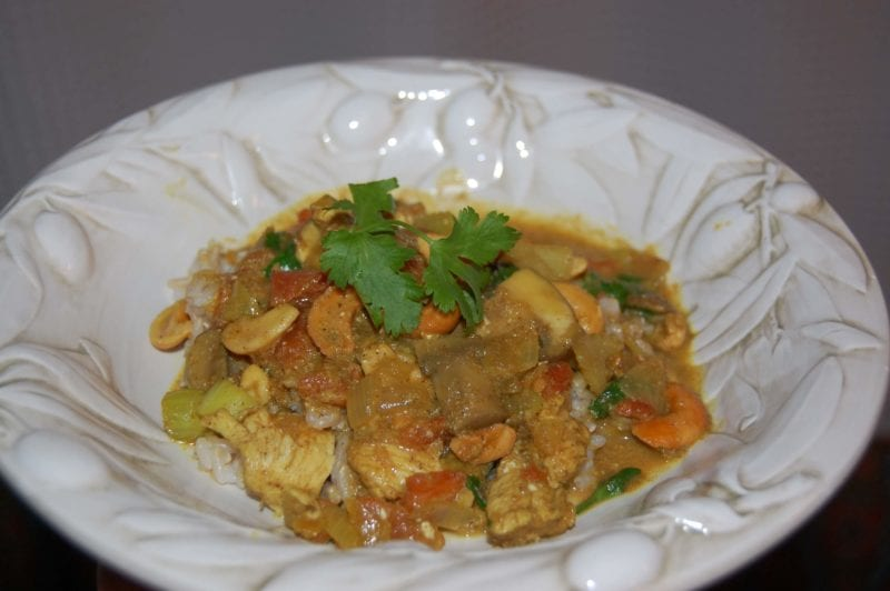 Homemade chicken and mushroom curry with cashews and brown rice.