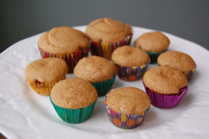 A variety of homemade muffins with surprise fillings on the inside.