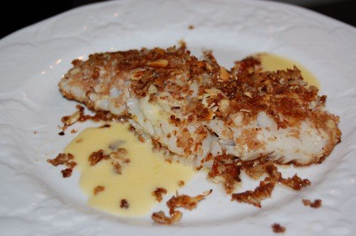 Almond Encrusted Fish with Beurre Blanc Sauce from 100 Days of Real Food