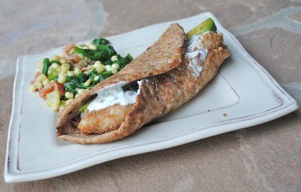 Crispy Fish Flatbreads with Spicy Tarter Sauce with Spinach Bacon Saute