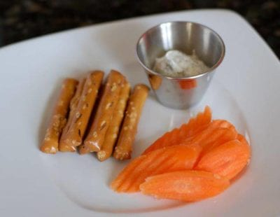 Some dip for pretzels and carrots works as a healthy snack idea
