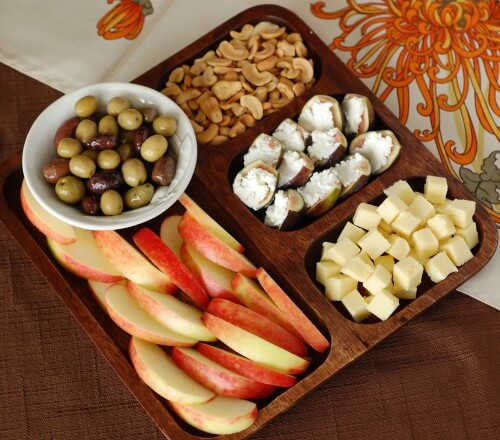 a cheese and fruit plate can be a great snack idea