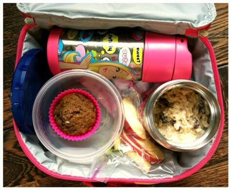 lunch in bag - oatmeal and muffin