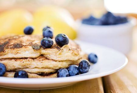Whole Spelt Lemon Cottage Cheese Pancakes with Blueberry Maple Syrup from 100 Days of Real Food