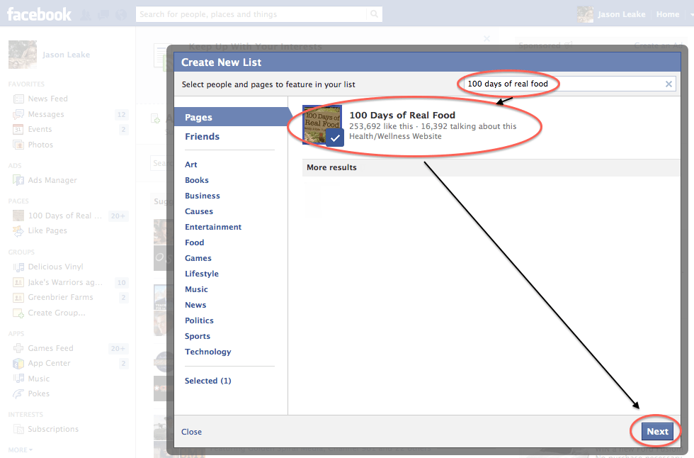 Facebook select pages