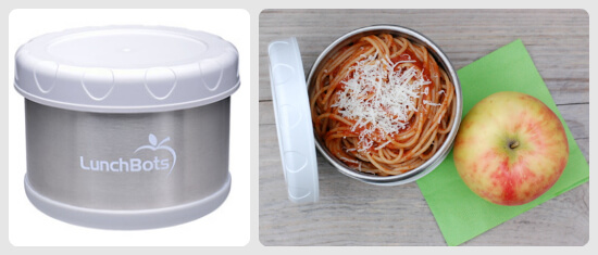 Almost 2 full servings of whole-wheat pasta and an organic apple in LunchBots container - 100 Days of Real Food