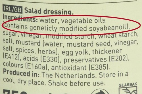 Example UK genetically modified ingredient label