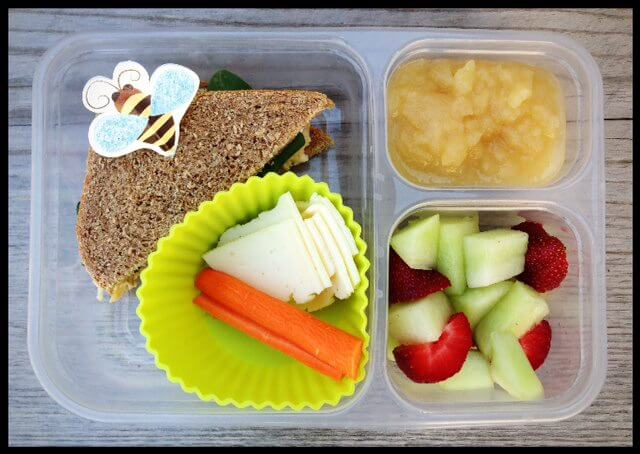 Hummus & cheese sandwich (topped with a few spinach leaves), carrots, cheese slices, honey dew melon, strawberries, and applesauce