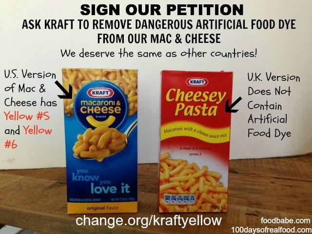 Kraft Yellow Food Dye Petition - 100 Days of Real Food
