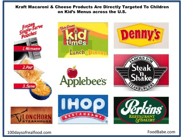Kraft Mac and Cheese on kids menus - 100 Days of Real Food