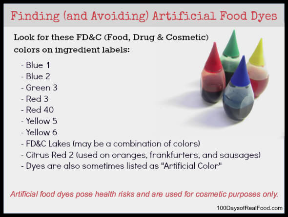 Finding and avoiding artificial dyes - 100 Days of Real Food