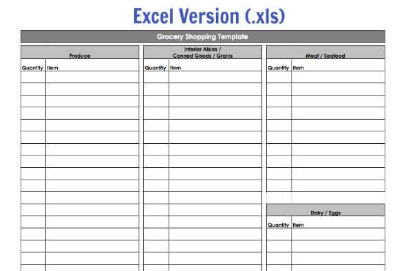 Grocery ...  Grocery List Template Excel Free Download