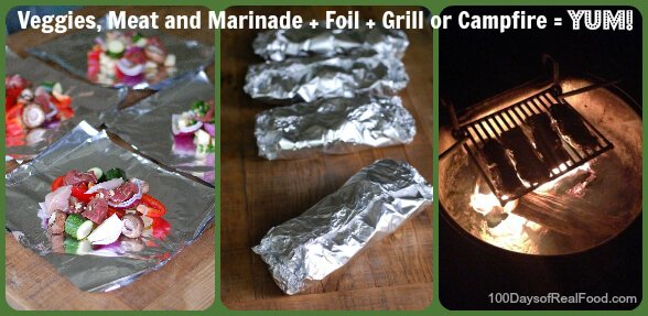 Recipe: veggie and meat foil packets - 100 Days of Real Food