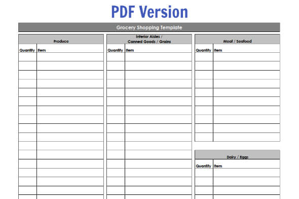 Doc420600 Blank Grocery List Templates Free Printable Grocery – Shopping List Template Word