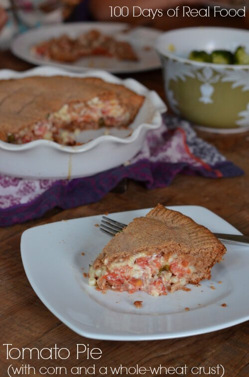 Tomato Pie (with corn and a whole-wheat crust) #realfood #tomatoes www.100daysofrealfood.com