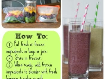 make ahead smoothie how to 350x263 - Make Ahead Smoothies (2 Ways)