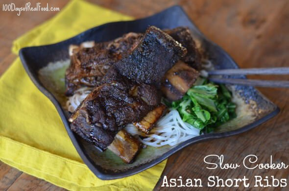 Slow Cooker Asian Short Ribs from 100 Days of Real Food #slowcooker #shortribs