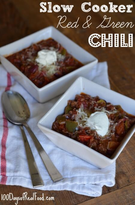 Slow Cooker Red and Green Chili from 100 Days of #RealFood #slowcooker #chili