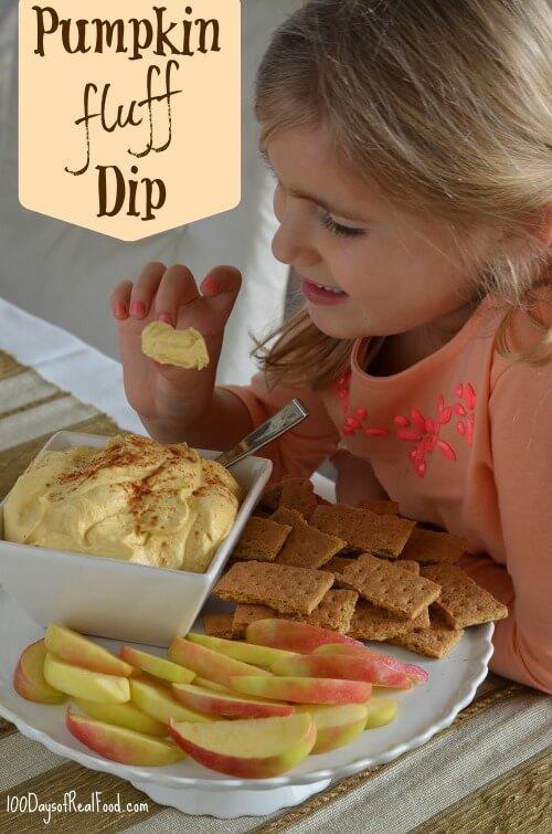 Pumpkin Fluff Dessert Dip from 100 Days of #RealFood #pumpkin