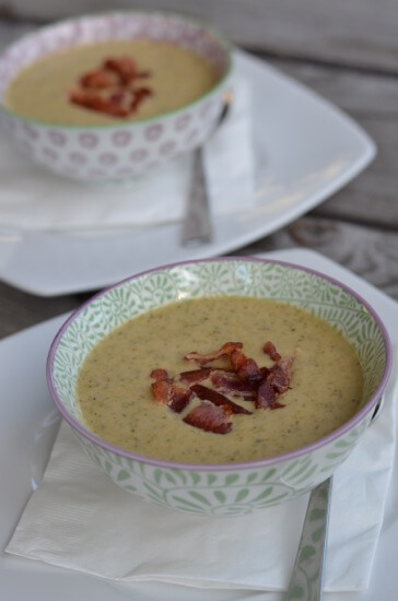 Broccoli Cheese Soup (with bacon!) from 100 Days of #RealFood