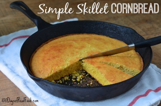 Simple Skillet Cornbread from 100 Days of #RealFood #cornbread