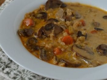 Creamy Mushroom Vegetable Soup (with barley)