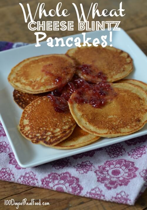 Whole Wheat Cheese Blintz Pancakes by 100 Days of #RealFood #cheese