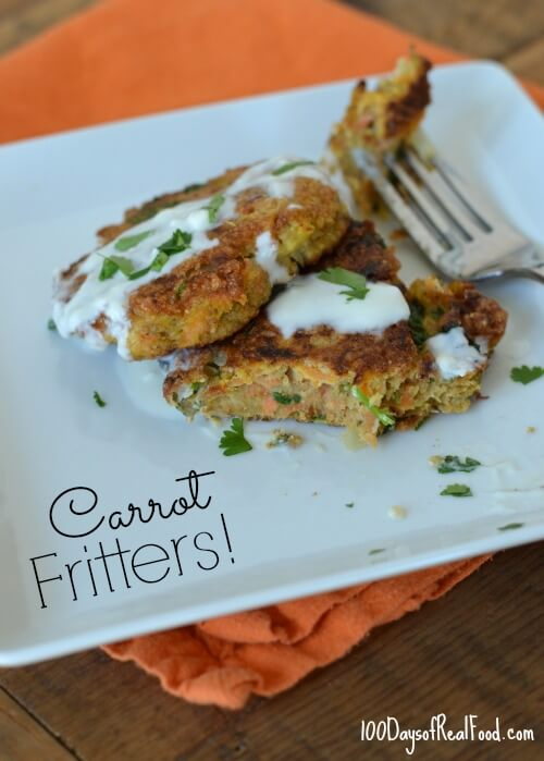 Carrot Fritters with Yogurt Sauce from 100 Days of #RealFood