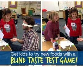 Blind taste test games help kids try new foods on 100 Days of #RealFood