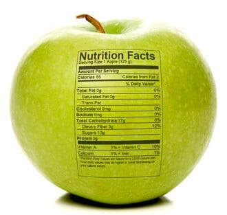 Apple with nutrition facts on 100 Days of #RealFood