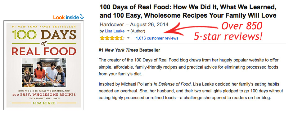 100 Days of Real Food Amazon book reviews