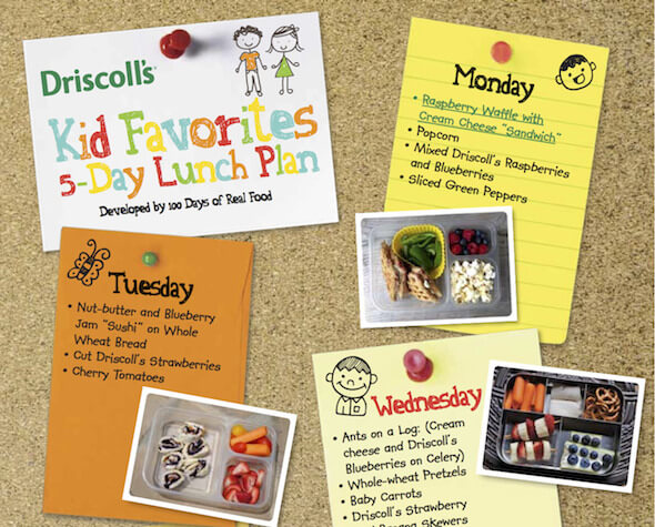 Driscolls School Lunch Meal Plan from 100 Days of #RealFood