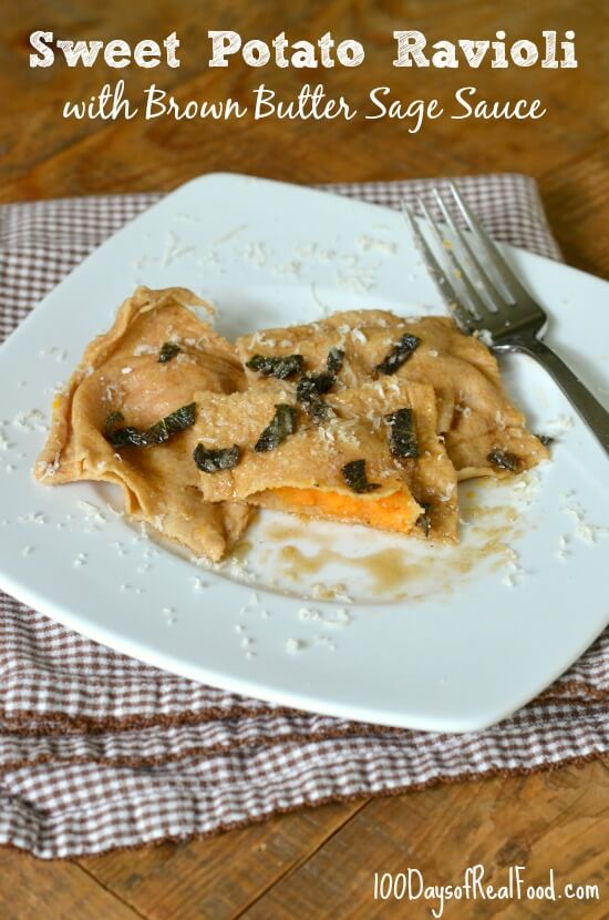 Homemade Sweet Potato Ravioli on 100 Days of #RealFood