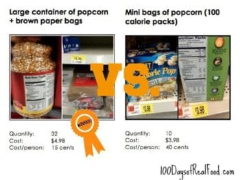 sports snack comparison on 100 Days of #RealFood