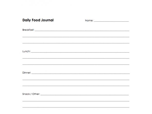 Food Journal Worksheet Screenshot on 100 Days of #RealFood
