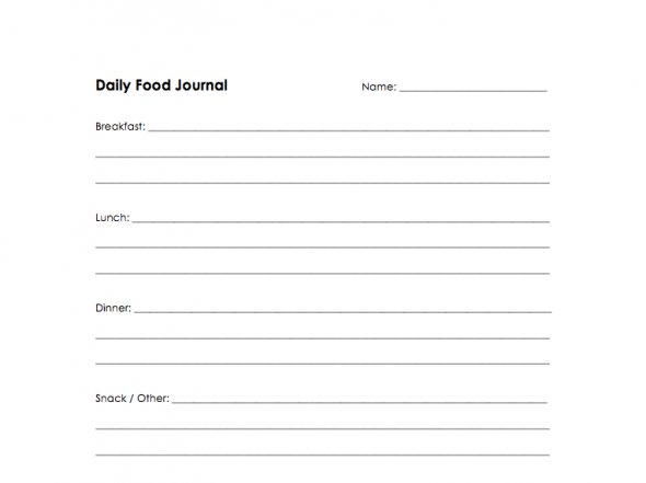 My Daughters Food Journal 100 Days of Real Food – Food Diary Template Download