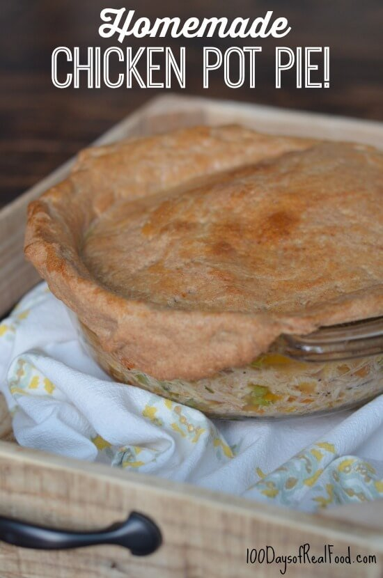 Homemade Chicken Pot Pie on a table.
