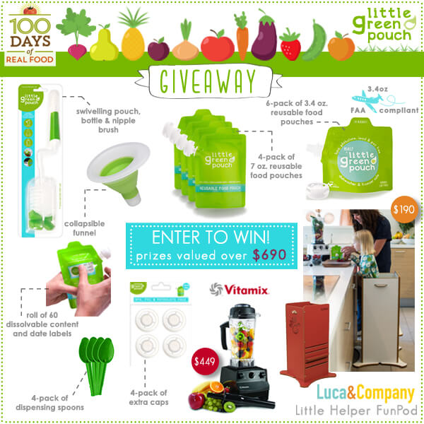 Giveaway: $690 Value Including Little Green Pouches & Vitamix at 100 Days of #RealFood #giveaway