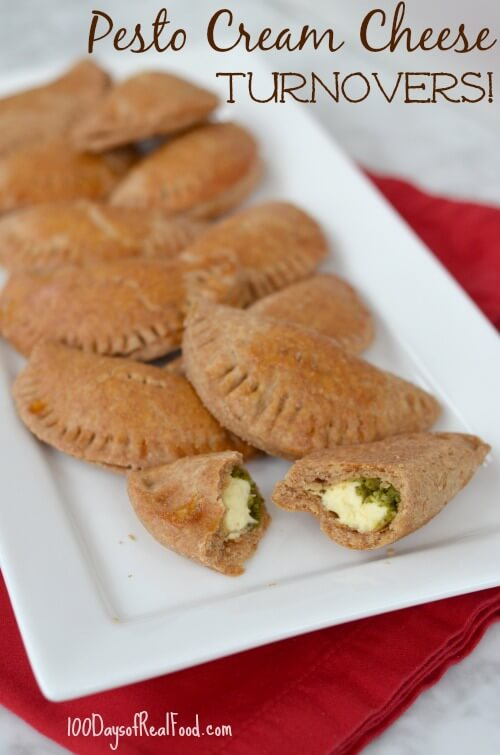 Pesto Cream Cheese Turnovers on 100 Days of #RealFood