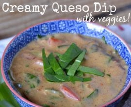 Creamy Queso Dip with Veggies on 100 Days of #RealFood