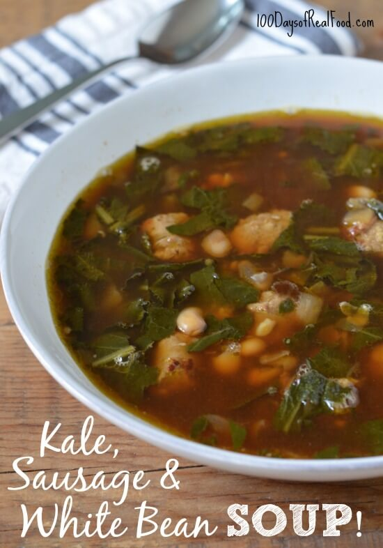 Easy Kale Sausage and White Bean Soup on 100 Days of #RealFood